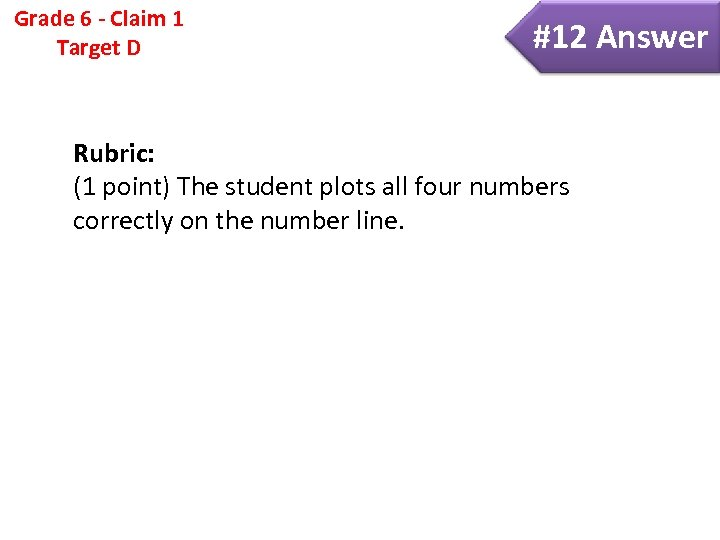 Grade 6 - Claim 1 Target D #12 Answer Rubric: (1 point) The student