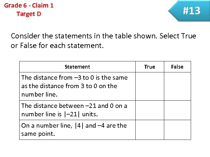 Grade 6 - Claim 1 Target D #13 Consider the statements in the table
