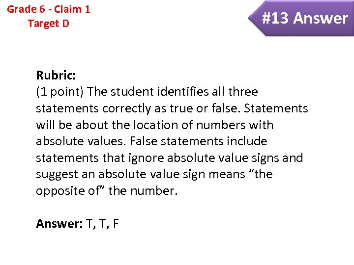 Grade 6 - Claim 1 Target D #13 Answer Rubric: (1 point) The student