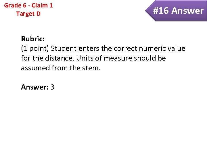 Grade 6 - Claim 1 Target D #16 Answer Rubric: (1 point) Student enters