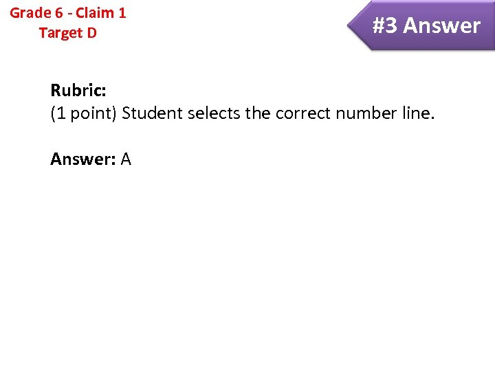 Grade 6 - Claim 1 Target D #3 Answer Rubric: (1 point) Student selects
