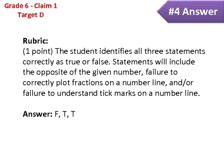 Grade 6 - Claim 1 Target D #4 Answer Rubric: (1 point) The student