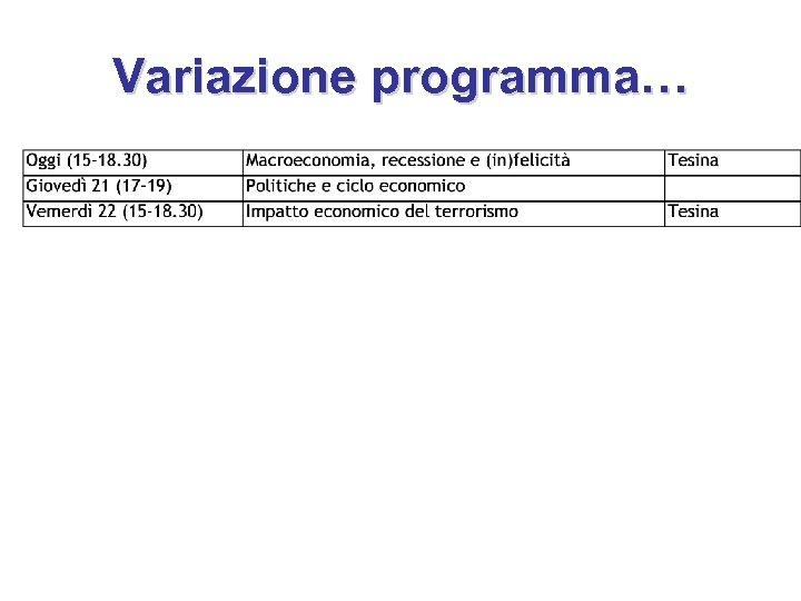 Variazione programma…
