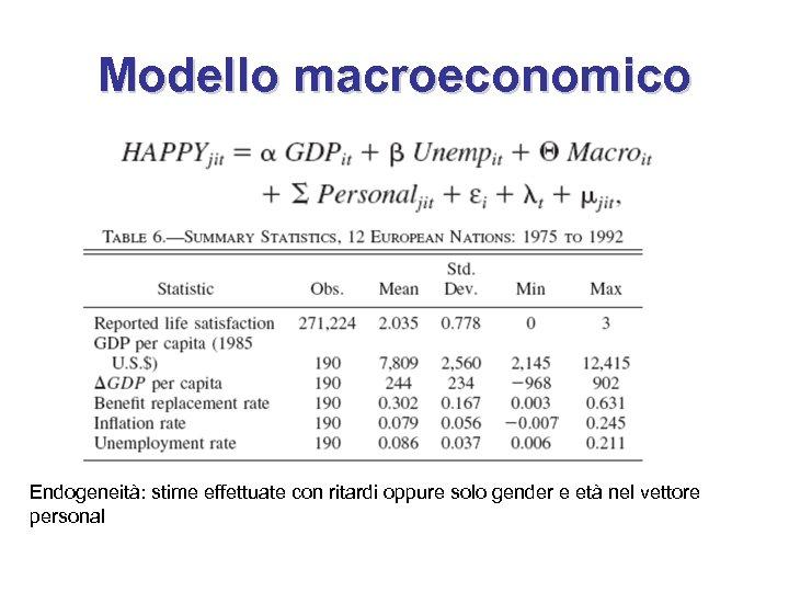 Modello macroeconomico Endogeneità: stime effettuate con ritardi oppure solo gender e età nel vettore