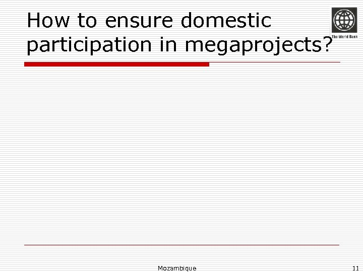 How to ensure domestic participation in megaprojects? Mozambique 11