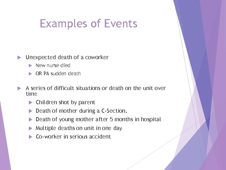 Examples of Events Unexpected death of a coworker New nurse died OR PA sudden