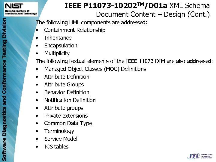 Software Diagnostics and Conformance Testing Division IEEE P 11073 -10202 TM/D 01 a XML