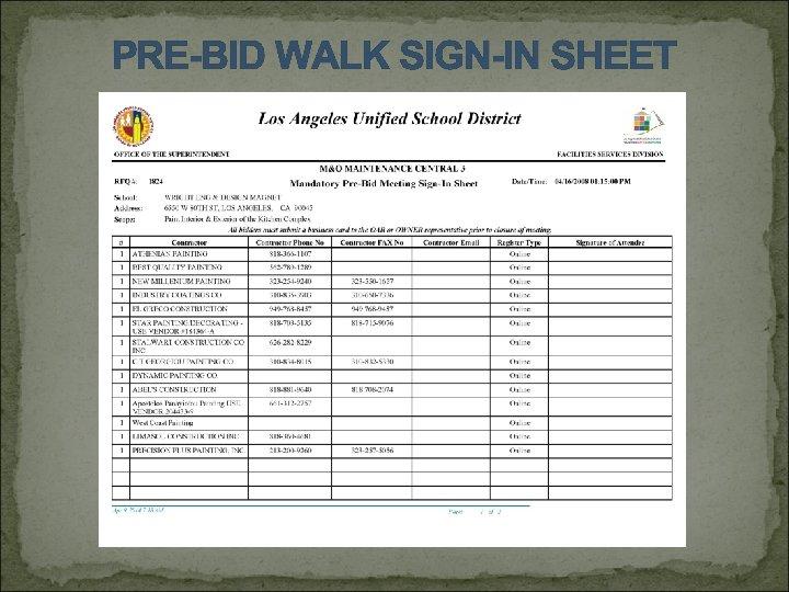 PRE-BID WALK SIGN-IN SHEET