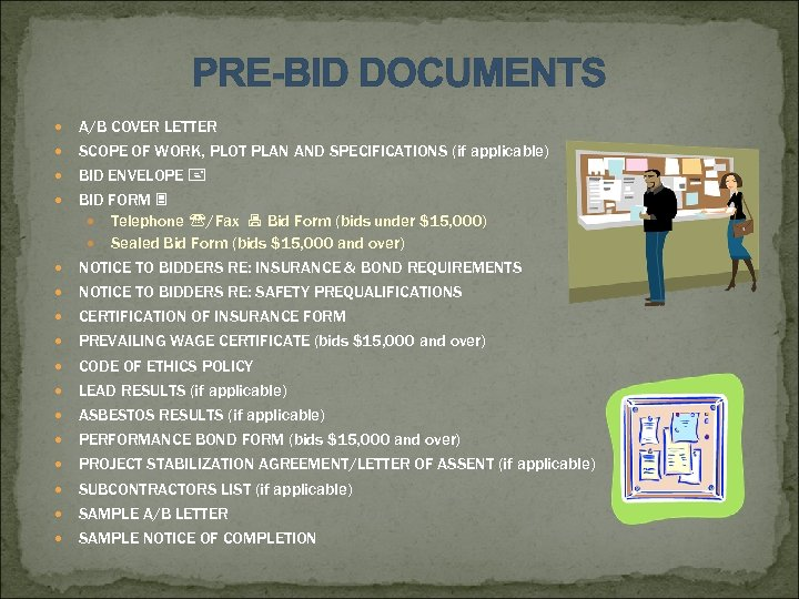 PRE-BID DOCUMENTS A/B COVER LETTER SCOPE OF WORK, PLOT PLAN AND SPECIFICATIONS (if applicable)
