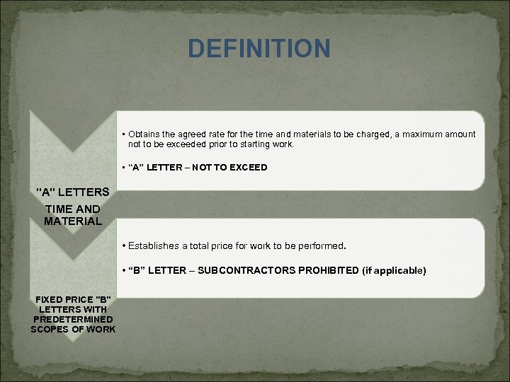 DEFINITION • Obtains the agreed rate for the time and materials to be charged,