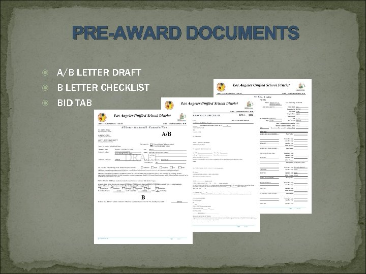 PRE-AWARD DOCUMENTS A/B LETTER DRAFT B LETTER CHECKLIST BID TAB