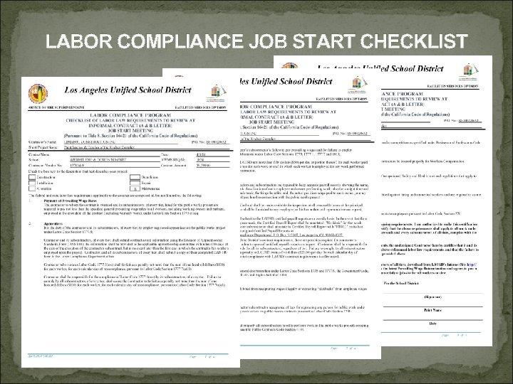 LABOR COMPLIANCE JOB START CHECKLIST