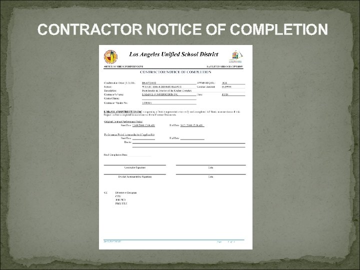CONTRACTOR NOTICE OF COMPLETION