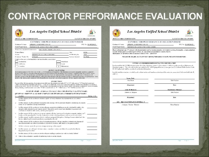 CONTRACTOR PERFORMANCE EVALUATION