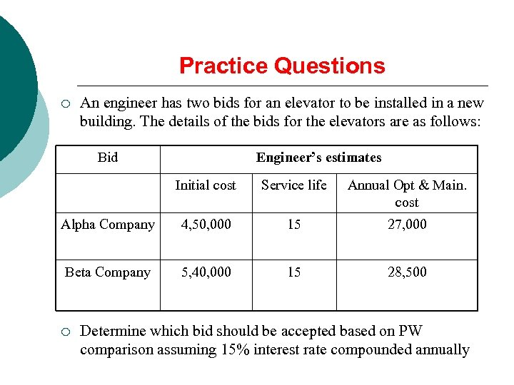 Practice Questions ¡ An engineer has two bids for an elevator to be installed