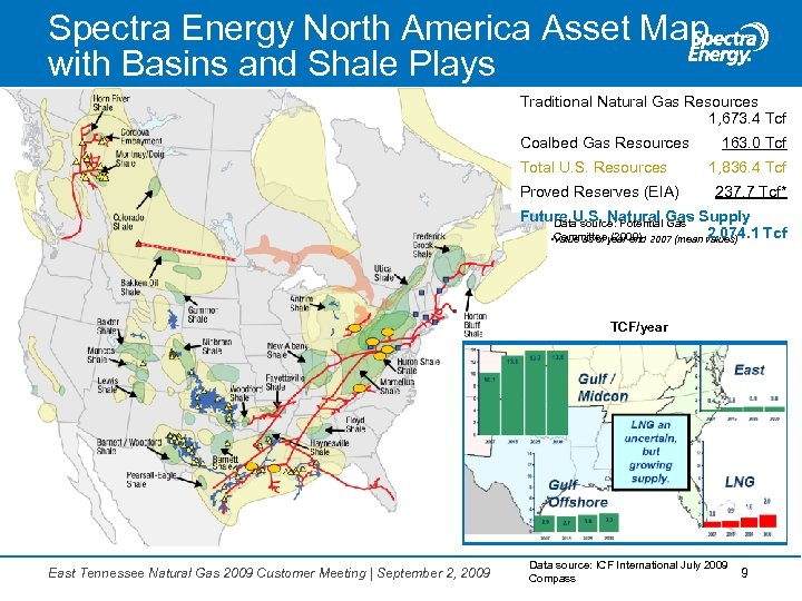 Spectra Energy North America Asset Map with Basins and Shale Plays Traditional Natural Gas
