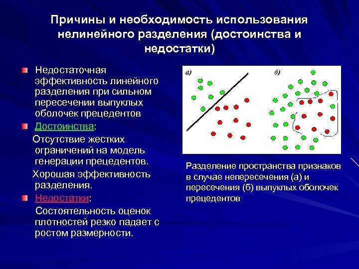 Причины и необходимость использования нелинейного разделения (достоинства и недостатки) Недостаточная эффективность линейного разделения при