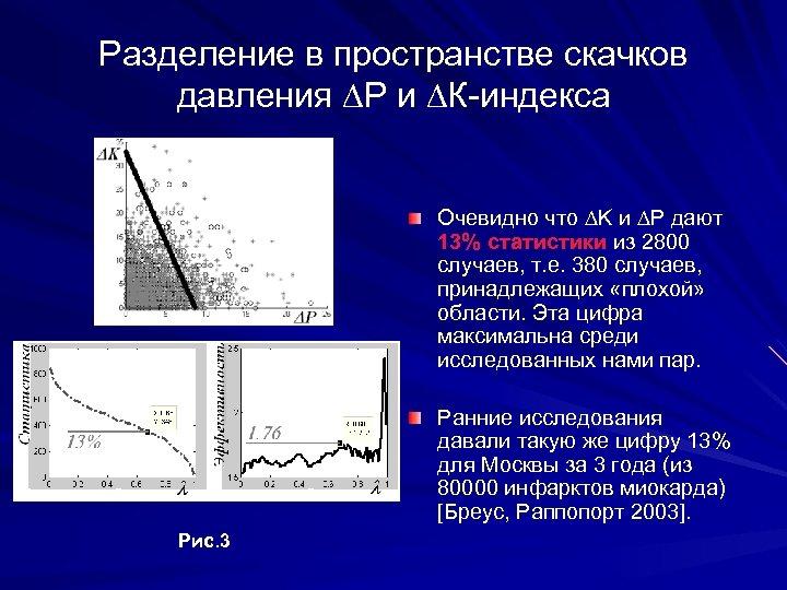 Разделение в пространстве скачков давления ∆Р и ∆К-индекса Очевидно что ∆K и ∆P дают