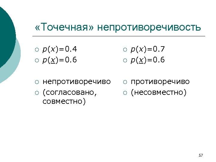 «Точечная» непротиворечивость ¡ ¡ p(x)=0. 4 p(x)=0. 6 ¡ непротиворечиво (согласовано, совместно) ¡