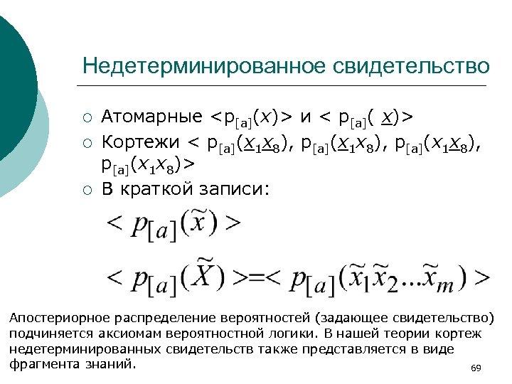 Недетерминированное свидетельство ¡ ¡ ¡ Атомарные <p[a](x)> и < p[a]( x)> Кортежи < p[a](x