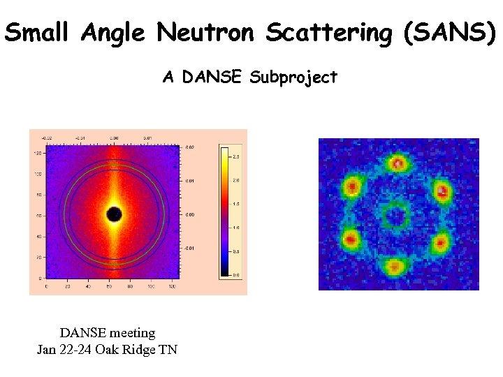 Small Angle Neutron Scattering (SANS) A DANSE Subproject DANSE meeting Jan 22 -24 Oak
