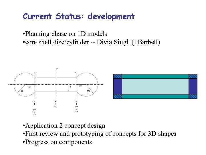 Current Status: development • Planning phase on 1 D models • core shell disc/cylinder