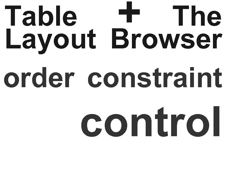 Table + The Layout Browser order constraint control