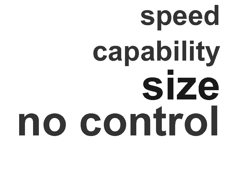 speed capability size no control