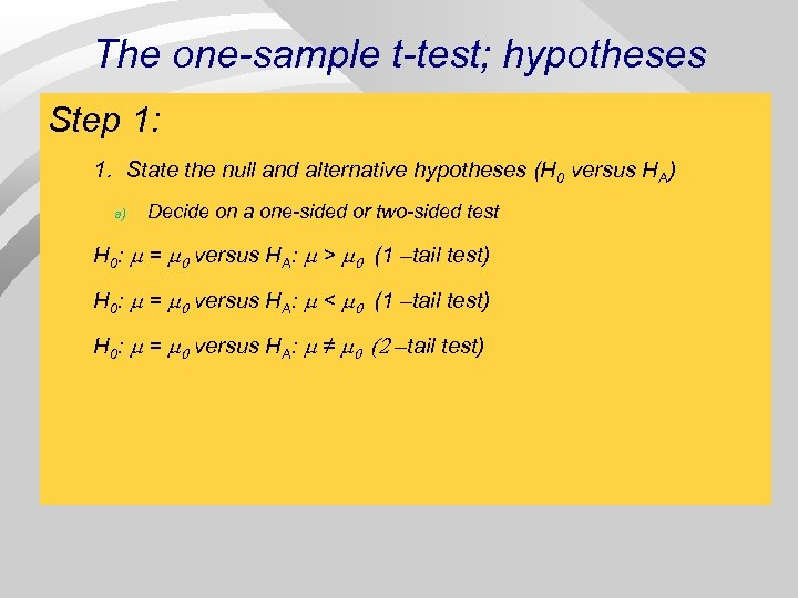 The one-sample t-test; hypotheses Step 1: 1. State the null and alternative hypotheses (H