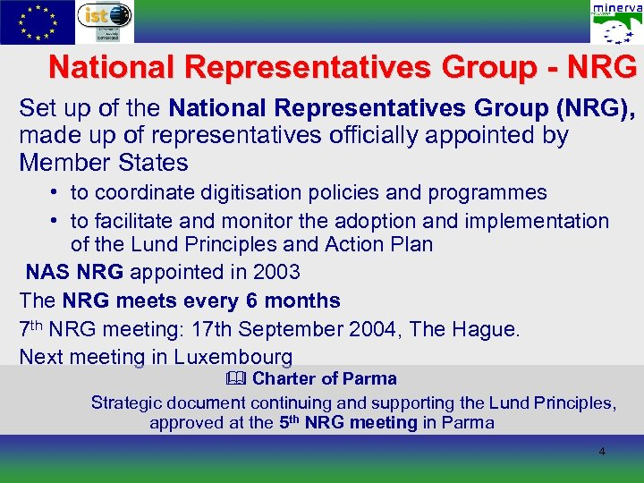 National Representatives Group - NRG Set up of the National Representatives Group (NRG), made