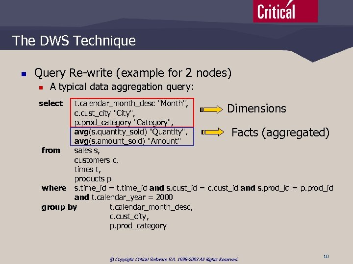 The DWS Technique n Query Re-write (example for 2 nodes) n A typical data