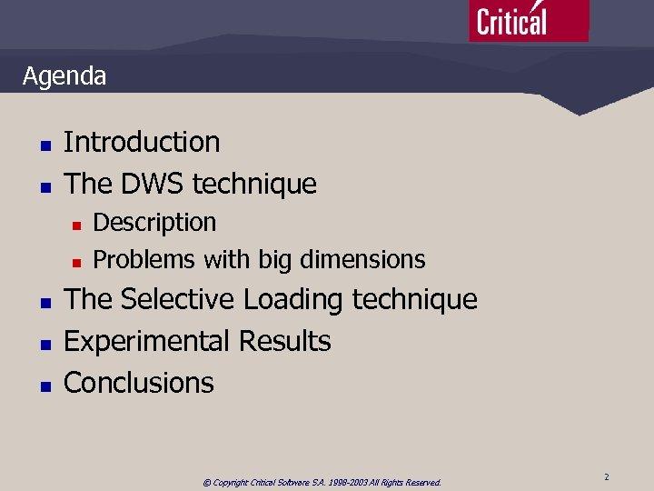 Agenda n n Introduction The DWS technique n n n Description Problems with big