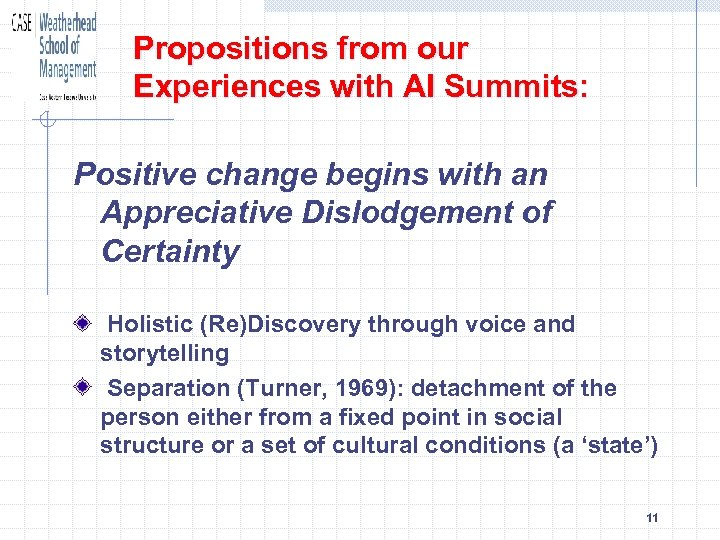 Propositions from our Experiences with AI Summits: Positive change begins with an Appreciative Dislodgement