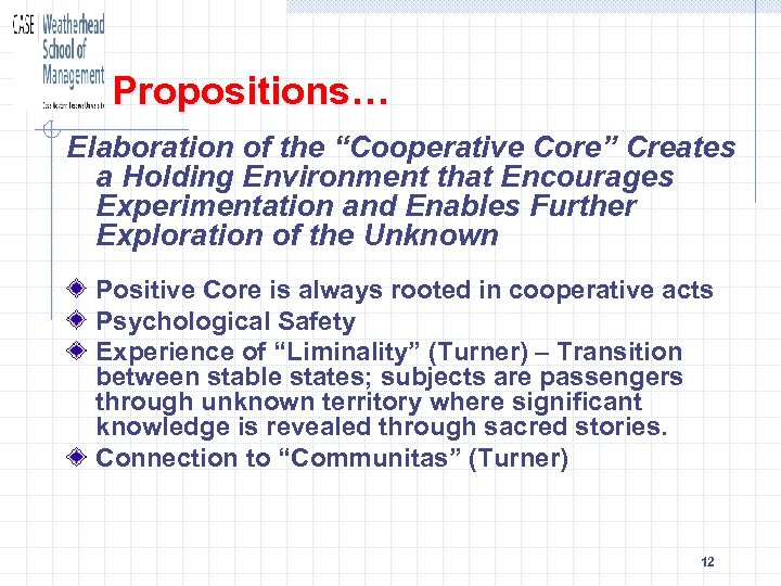 """Propositions… Elaboration of the """"Cooperative Core"""" Creates a Holding Environment that Encourages Experimentation and"""