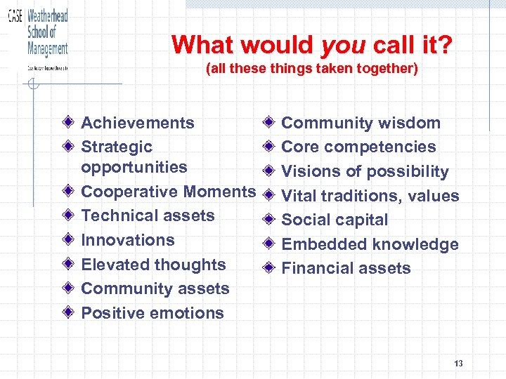 What would you call it? (all these things taken together) Achievements Strategic opportunities Cooperative