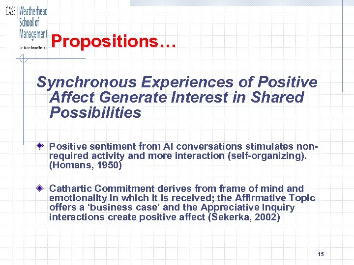Propositions… Synchronous Experiences of Positive Affect Generate Interest in Shared Possibilities Positive sentiment from