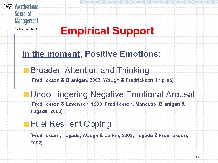 Empirical Support In the moment, Positive Emotions: Broaden Attention and Thinking (Fredrickson & Branigan,