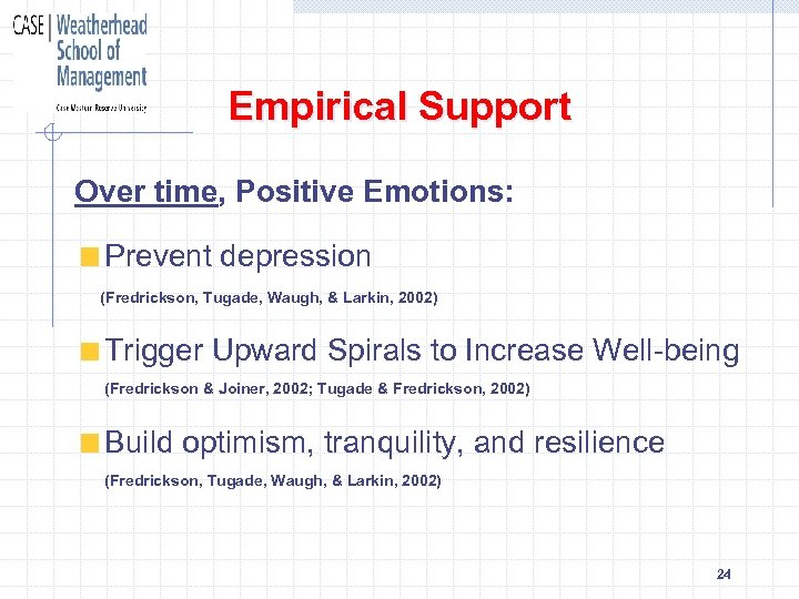 Empirical Support Over time, Positive Emotions: Prevent depression (Fredrickson, Tugade, Waugh, & Larkin, 2002)