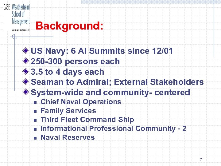 Background: US Navy: 6 AI Summits since 12/01 250 -300 persons each 3. 5