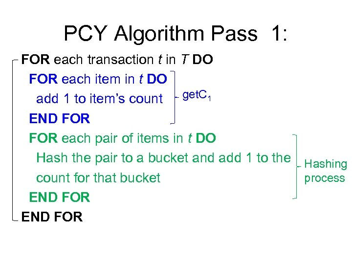 PCY Algorithm Pass 1: FOR each transaction t in T DO FOR each item