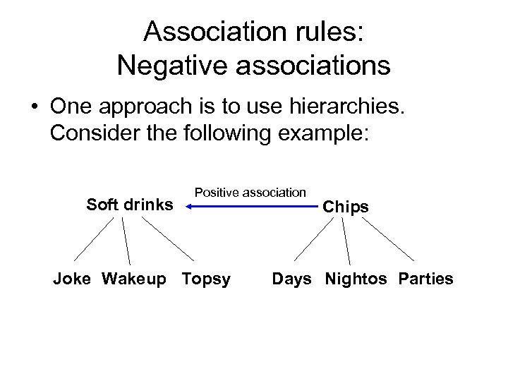Association rules: Negative associations • One approach is to use hierarchies. Consider the following