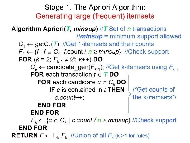 Stage 1. The Apriori Algorithm: Generating large (frequent) itemsets Algorithm Apriori(T, minsup) //T Set