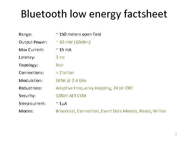 Bluetooth low energy factsheet Range: ~ 150 meters open field Output Power: ~ 10