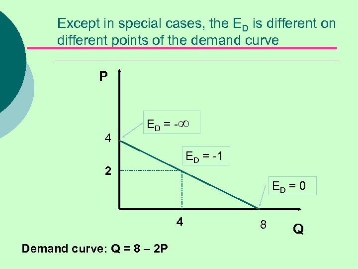 Except in special cases, the ED is different on different points of the demand