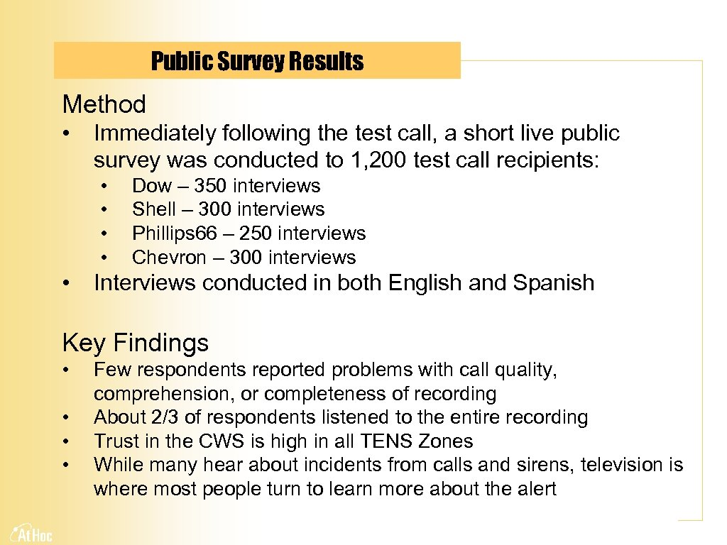 Public Survey Results Method • Immediately following the test call, a short live public