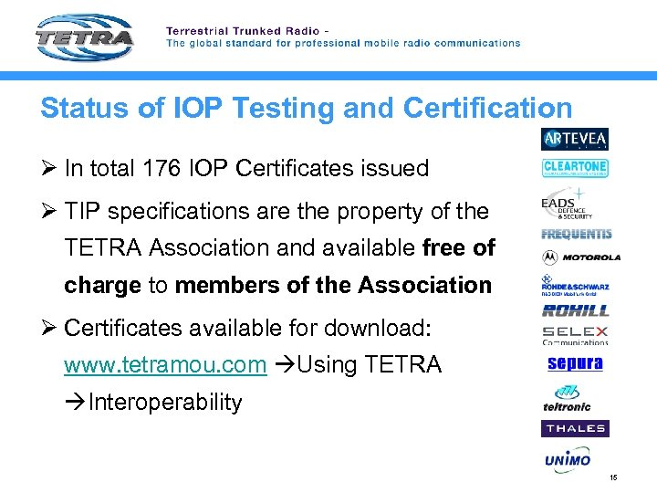 Status of IOP Testing and Certification Ø In total 176 IOP Certificates issued Ø
