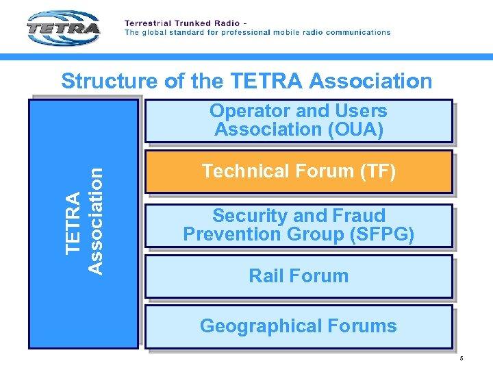 Structure of the TETRA Association TETRA Association Operator and Users Association (OUA) Technical Forum