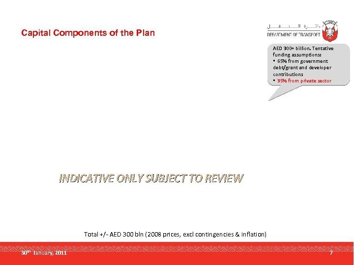 Capital Components of the Plan AED 300+ billion. Tentative funding assumptions: • 65% from