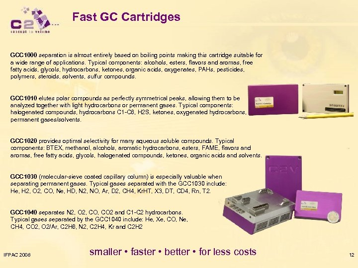 Fast GC Cartridges GCC 1000 separation is almost entirely based on boiling points making
