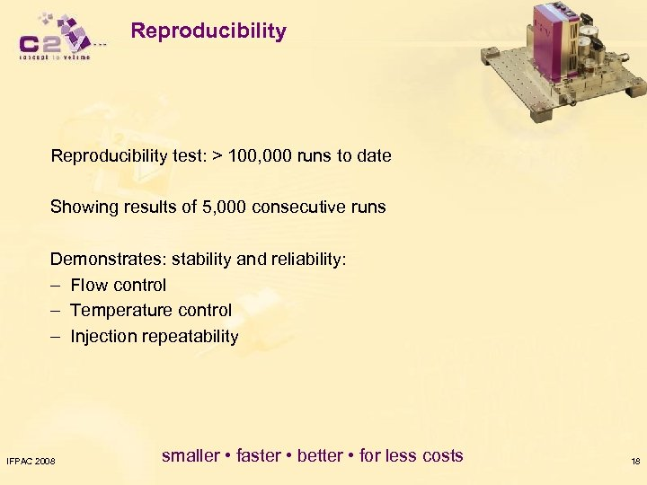 Reproducibility test: > 100, 000 runs to date Showing results of 5, 000 consecutive